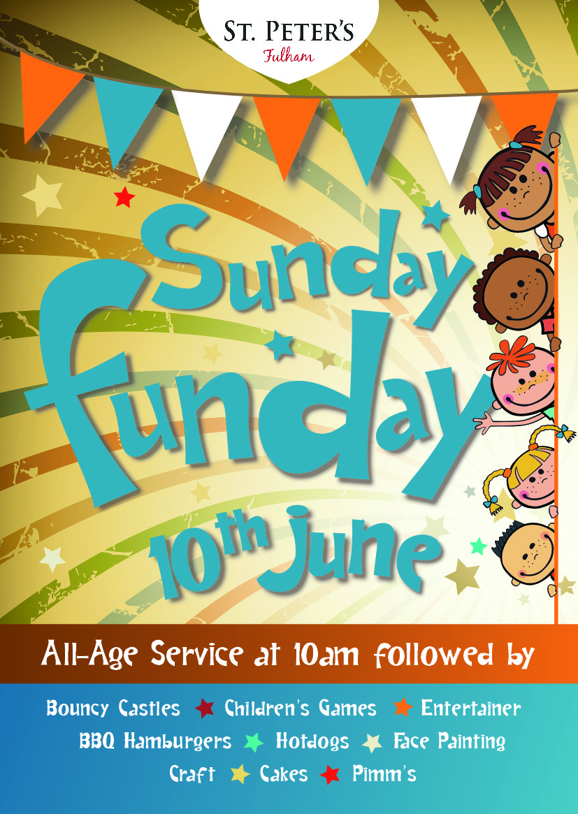 2018 Sunday Funday Flyer front | St Peter's Fulham