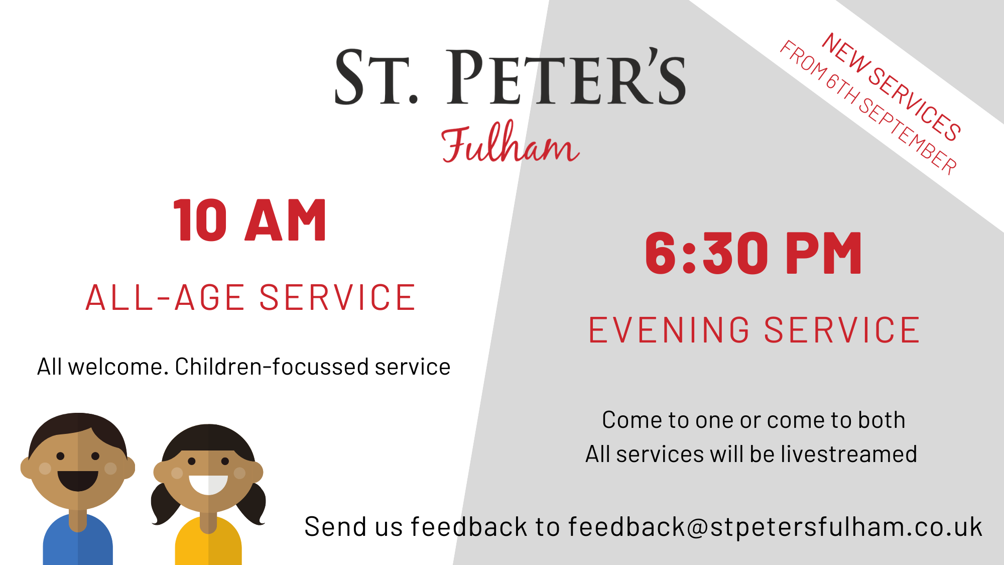 New Services at St Peter's Fulham